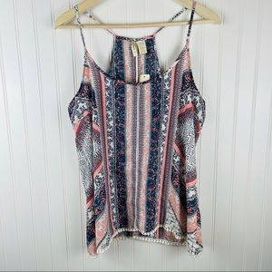 Japna Blue and Coral Cami Tank Top With Fringe L